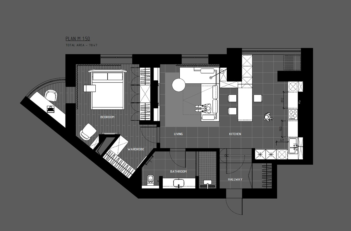 5 ideas for a one bedroom apartment with study includes for Home design layout plan