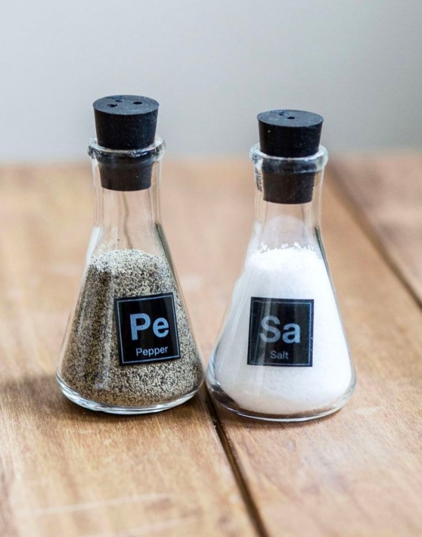 Cooking is a science and these chemistry-themed shakers are sure to inspire experimentation in the kitchen. Of course, the salt should say NaCl but hey – it's a conversation starter!