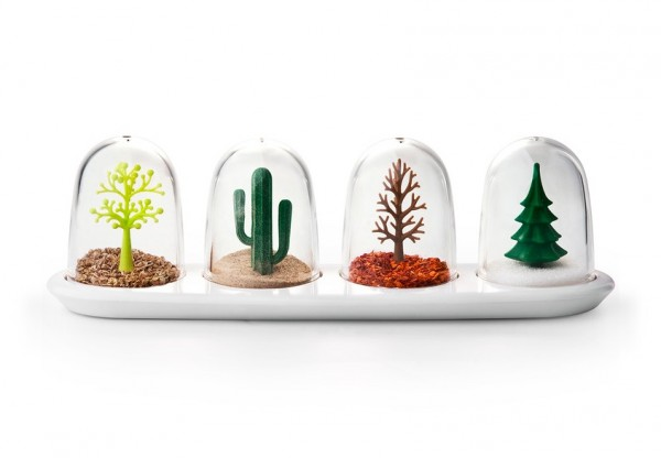 Finally – a spice shaker set that goes beyond just salt and pepper! The Four Seasons set encourages owners to create an ecosystem for the plant figurines inside, like using pepper flakes to imitate autumn leaves or salt to reflect snow.
