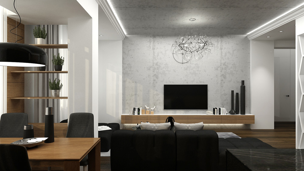 Wood And Concrete Apartment - 5 ideas for a one bedroom apartment with study includes floor plans
