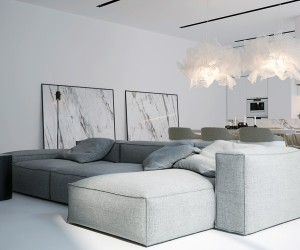 This incredibly modern space is flushed with white walls, cabinets, marble, flooring, and lights. At the center of it all is this oversized couch that despite it's clean lines looks overstuffed and super comfortable. The couch grounds the space so you don't get lost in that sea of white.