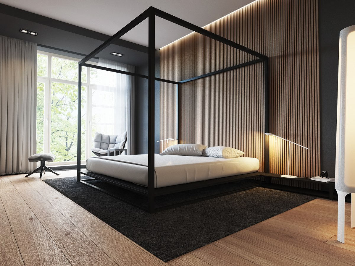 4 luxury bedrooms with unique wall details for Four bedroom