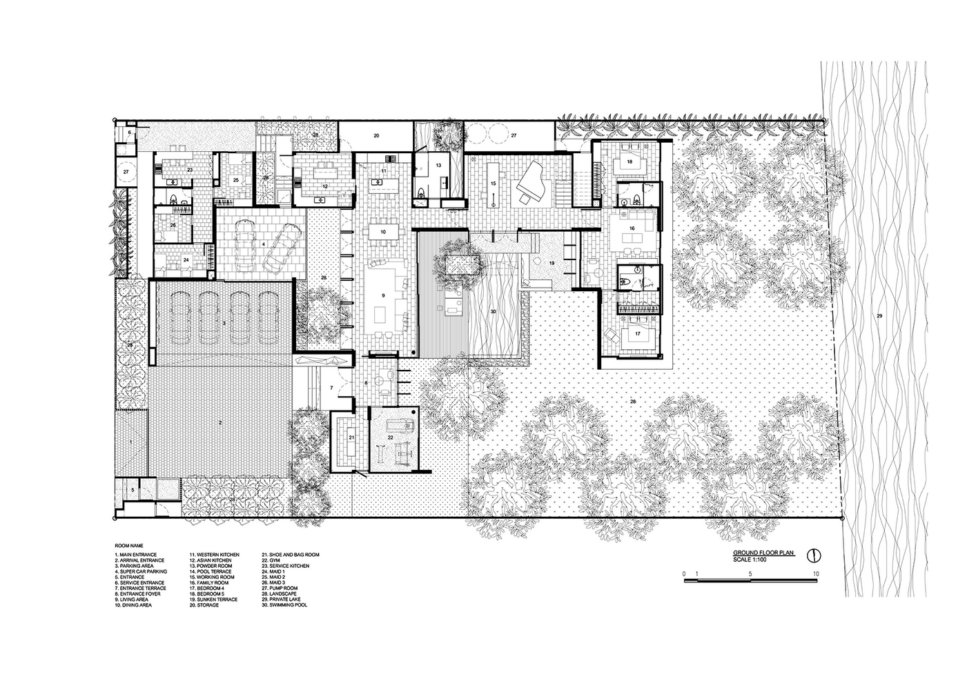 modern house plans with courtyards in the middle - Modern ...