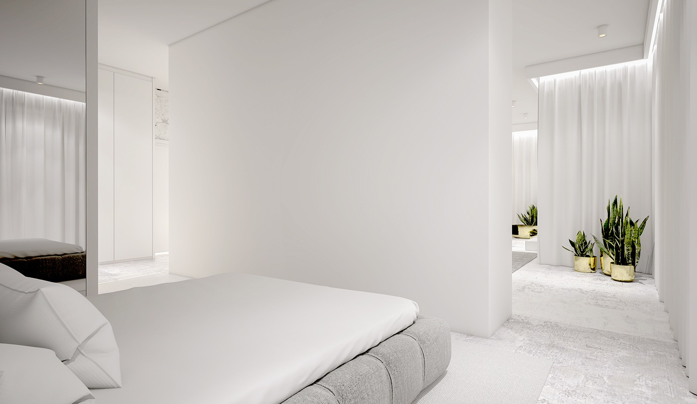 White minimalist spaces that will make you forget all about color - Hamper solutions for small spaces minimalist ...