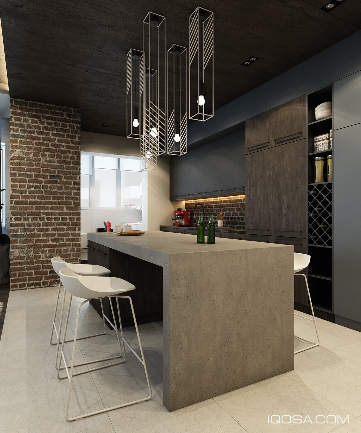 Cement Accent Wall : Design a chic modern space around brick accent wall