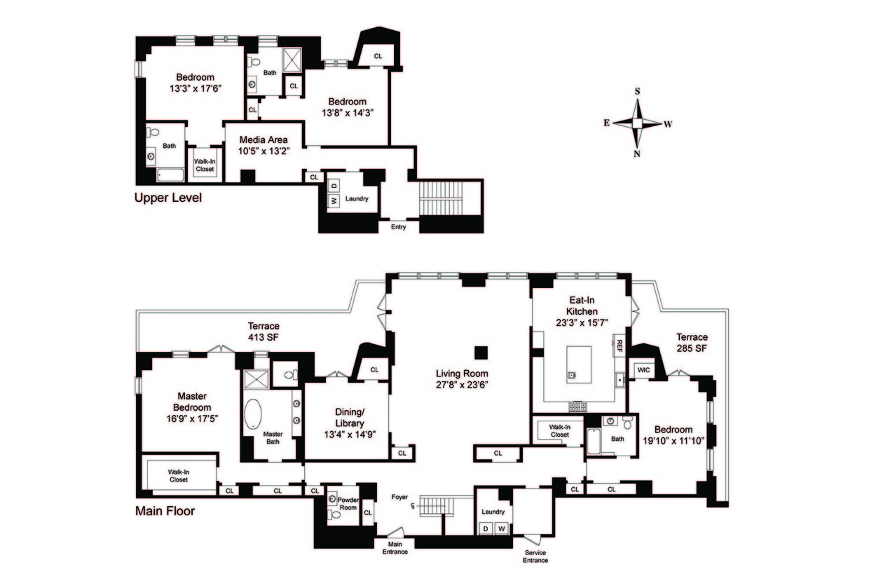 Two sophisticated luxury apartments in ny includes floor for Appartment plans