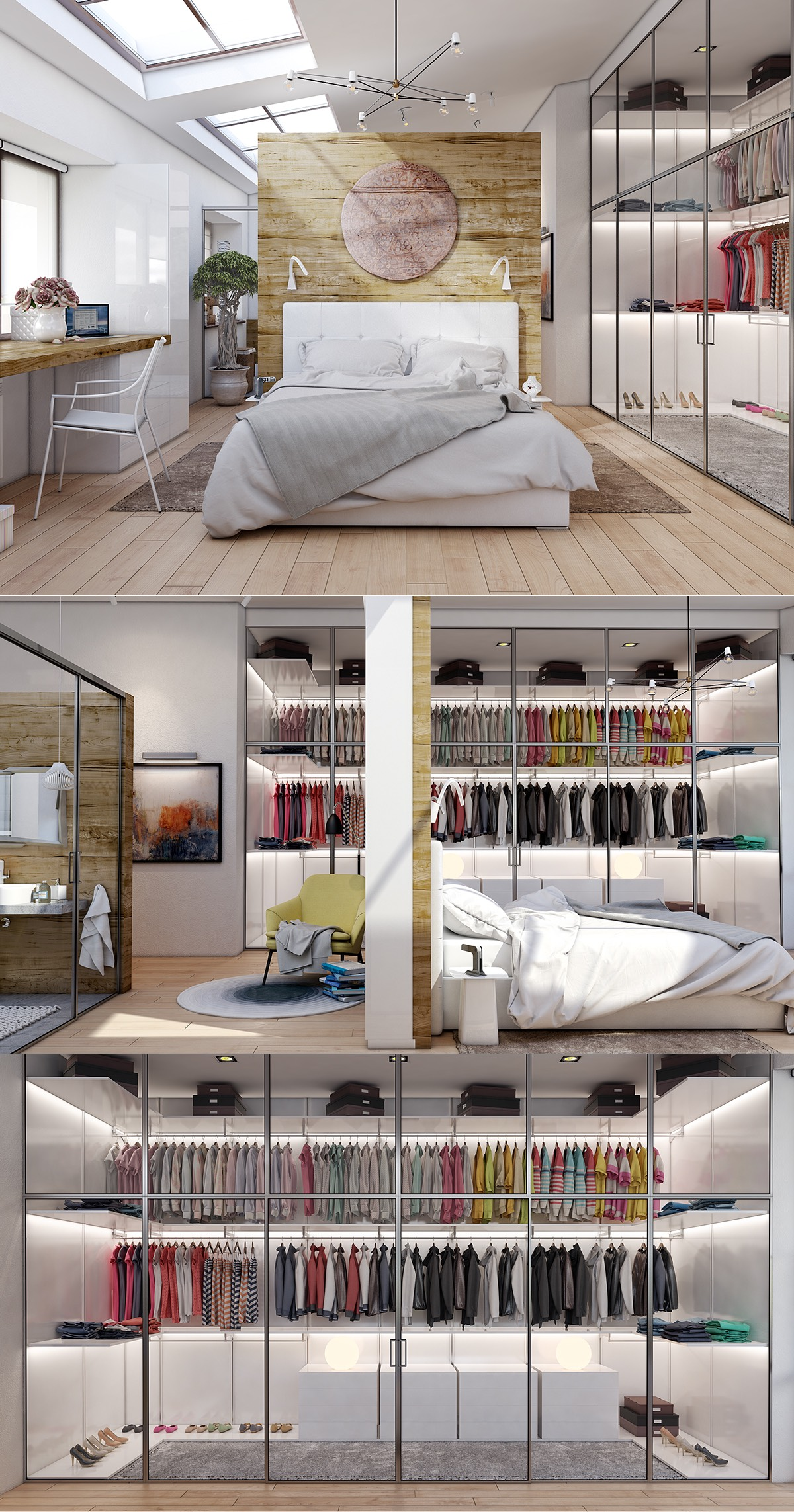 Bedroom Walk In Wardrobe Inspiration - 20 beautiful examples of bedrooms with attached wardrobes