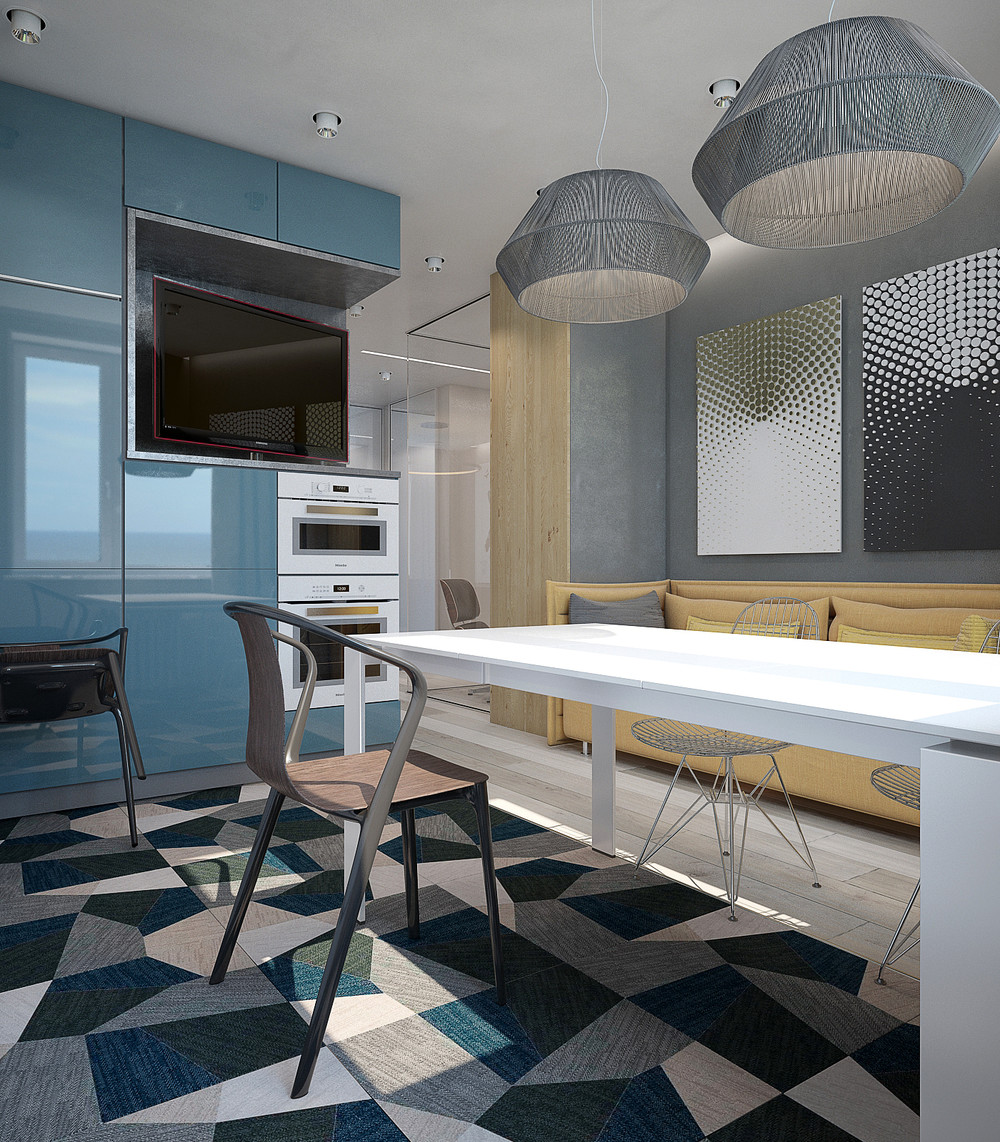 Yellow Kitchen Theme: 4 Charming Blue Accent Apartments With Compact Layouts