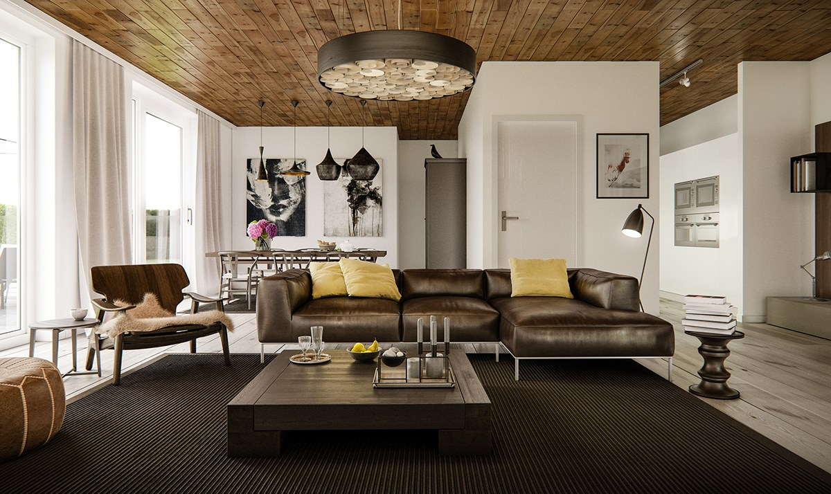 5 living rooms that demonstrate stylish modern design trends for Yellow brown living room ideas