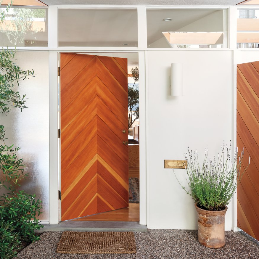 chevron wooden door 50 modern front door designs