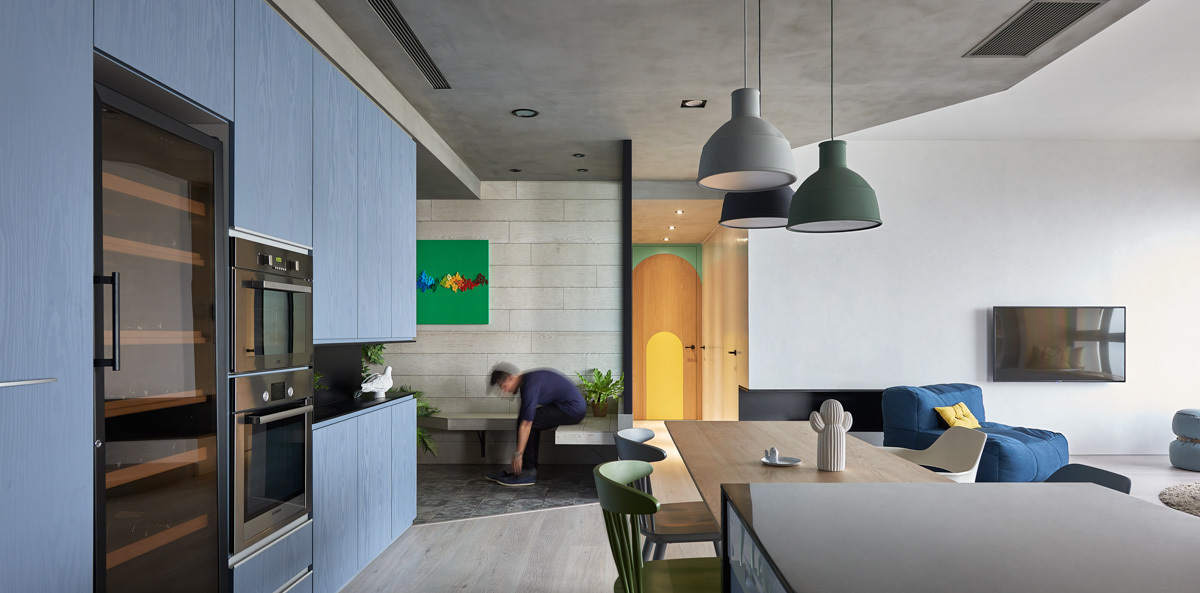 Concrete Ceiling In Kitchen - Colorful modern apartment for a family with small children