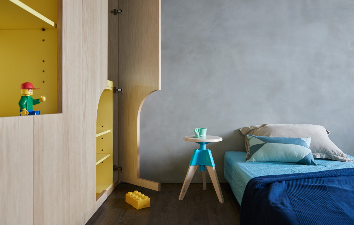 Concrete Kids Bedroom Wall - Colorful modern apartment for a family with small children