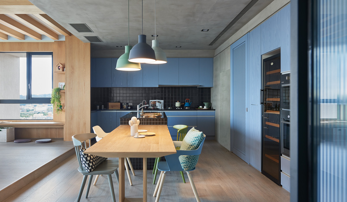 Creative Dining Room Lighting - Colorful modern apartment for a family with small children