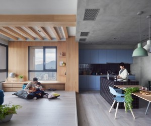 The couple is passionate about cooking - while planning the home design, one of the most important requests by the clients was an open kitchen for a full view of the living and play areas.