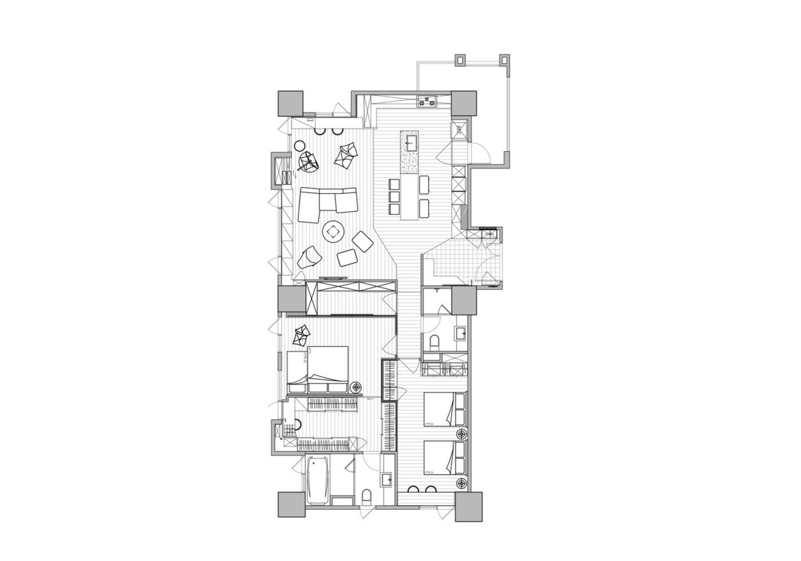 Family Apartment Floor Plan - Colorful modern apartment for a family with small children