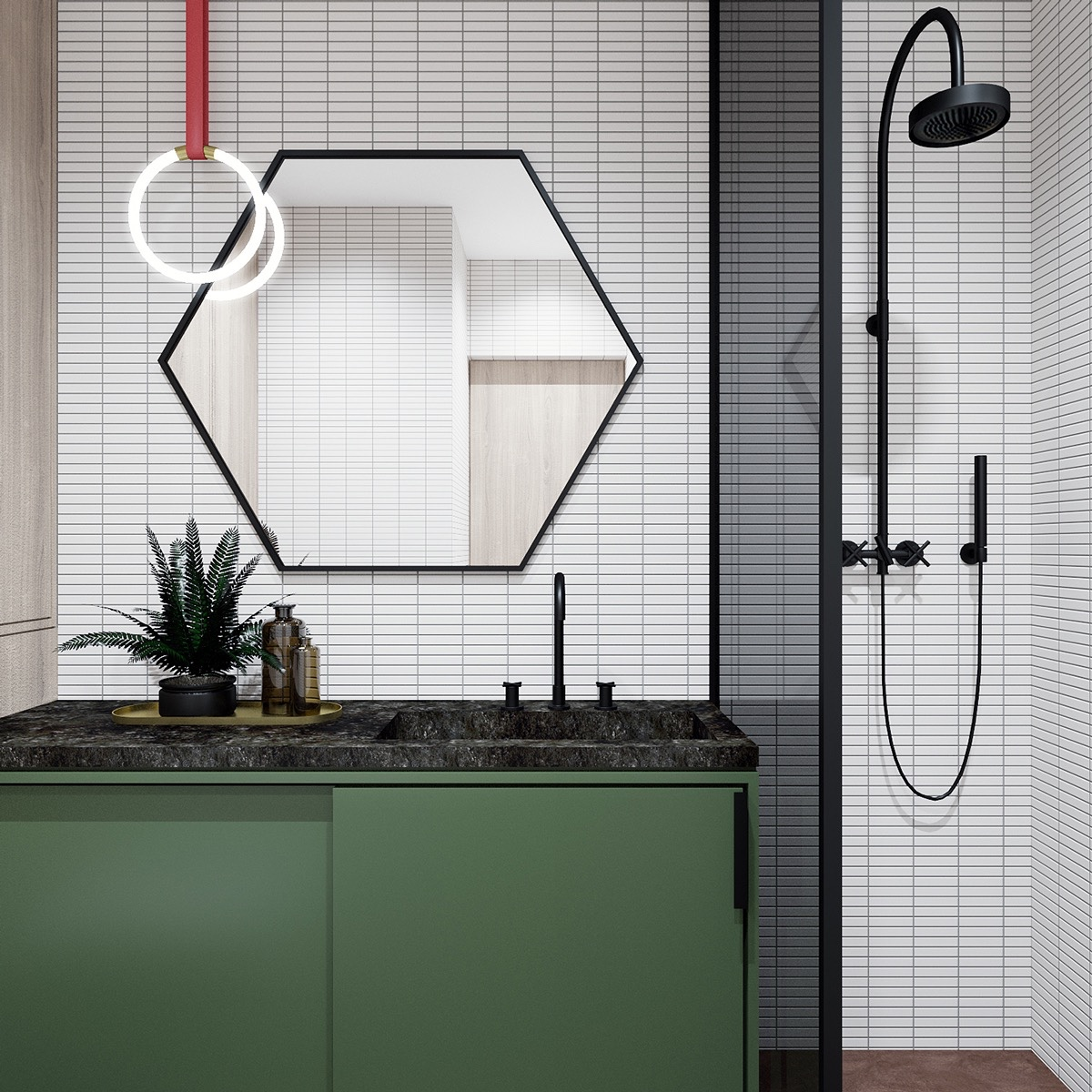 Geometric Bathroom Design Theme - 2 well rounded home designs under 600 square feet includes layout
