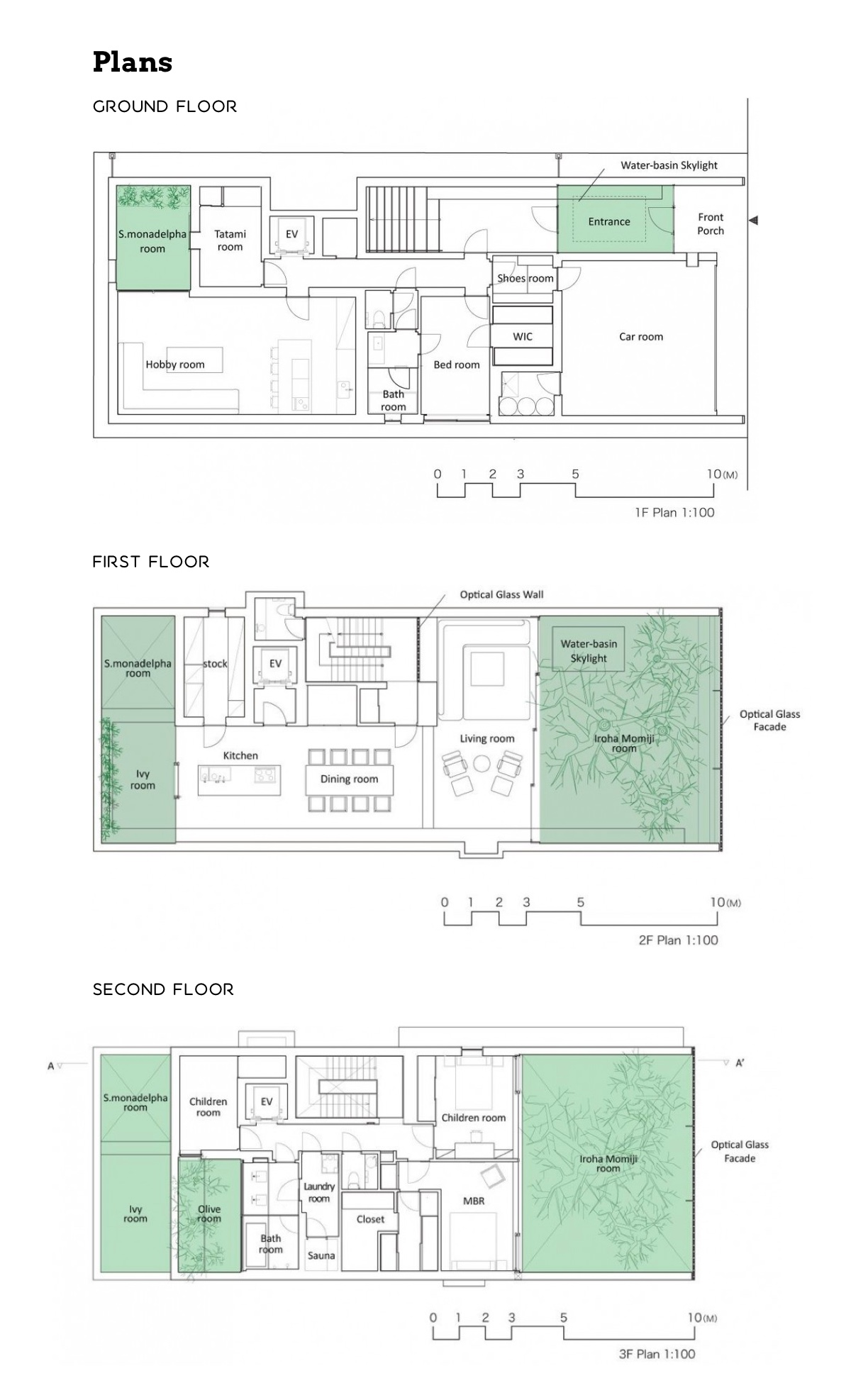 Glass Wall Home Floor Plan - An incredible interior courtyard shielded by optical glass bricks