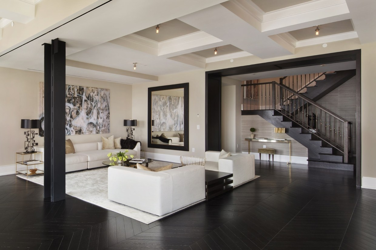 Two sophisticated luxury apartments in ny includes floor for Interior design for duplex living room