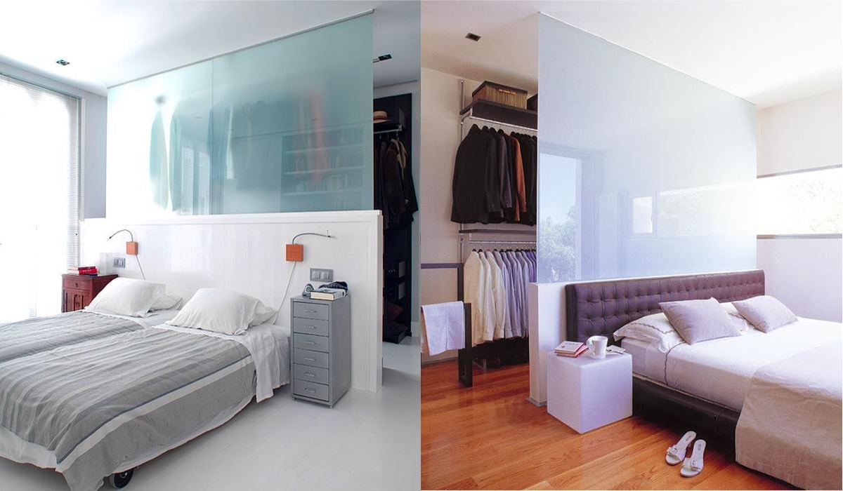 Open Wardrobe Behind Bed Layout - 20 beautiful examples of bedrooms with attached wardrobes