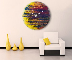 Abstract Art Wall Clock: Colorful abstract art meets precision timekeeping with this amazing oversized clock. Handmade with paint on prepared glass, the texture and detail is unmatched and irresistible. This clock is part of a collection by that interprets planets through a post-modern lens. At nearly 3 feet across (almost 1 meter), it won't go unnoticed among your art collection.
