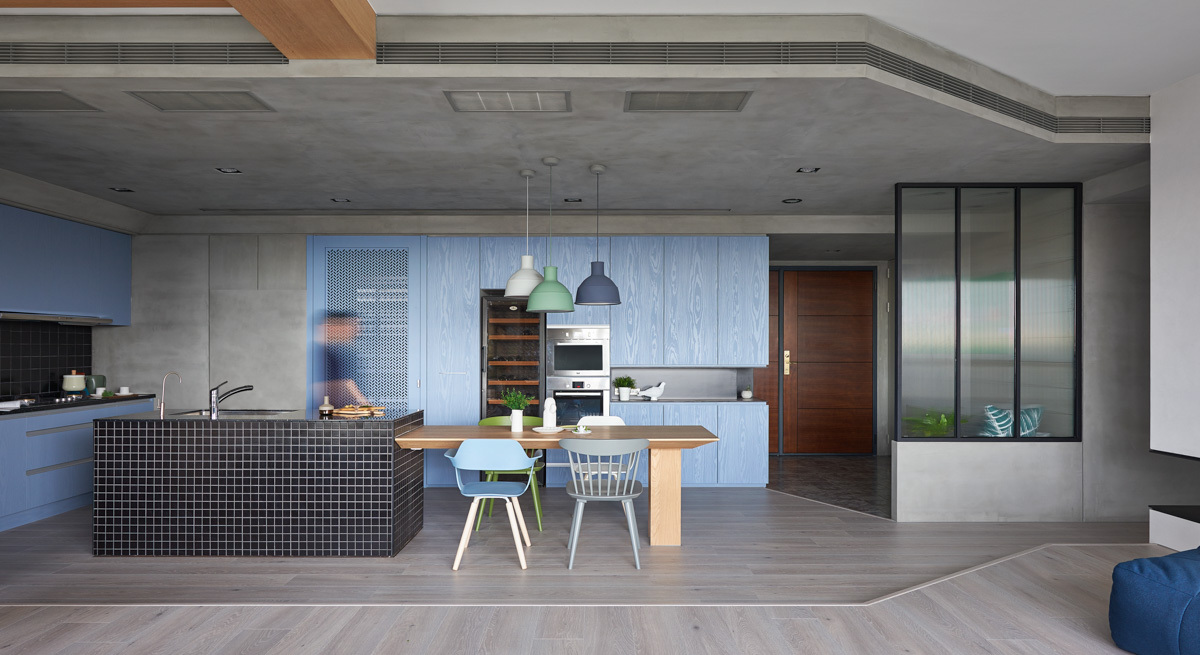 Pale Blue And Green Kitchen Theme - Colorful modern apartment for a family with small children