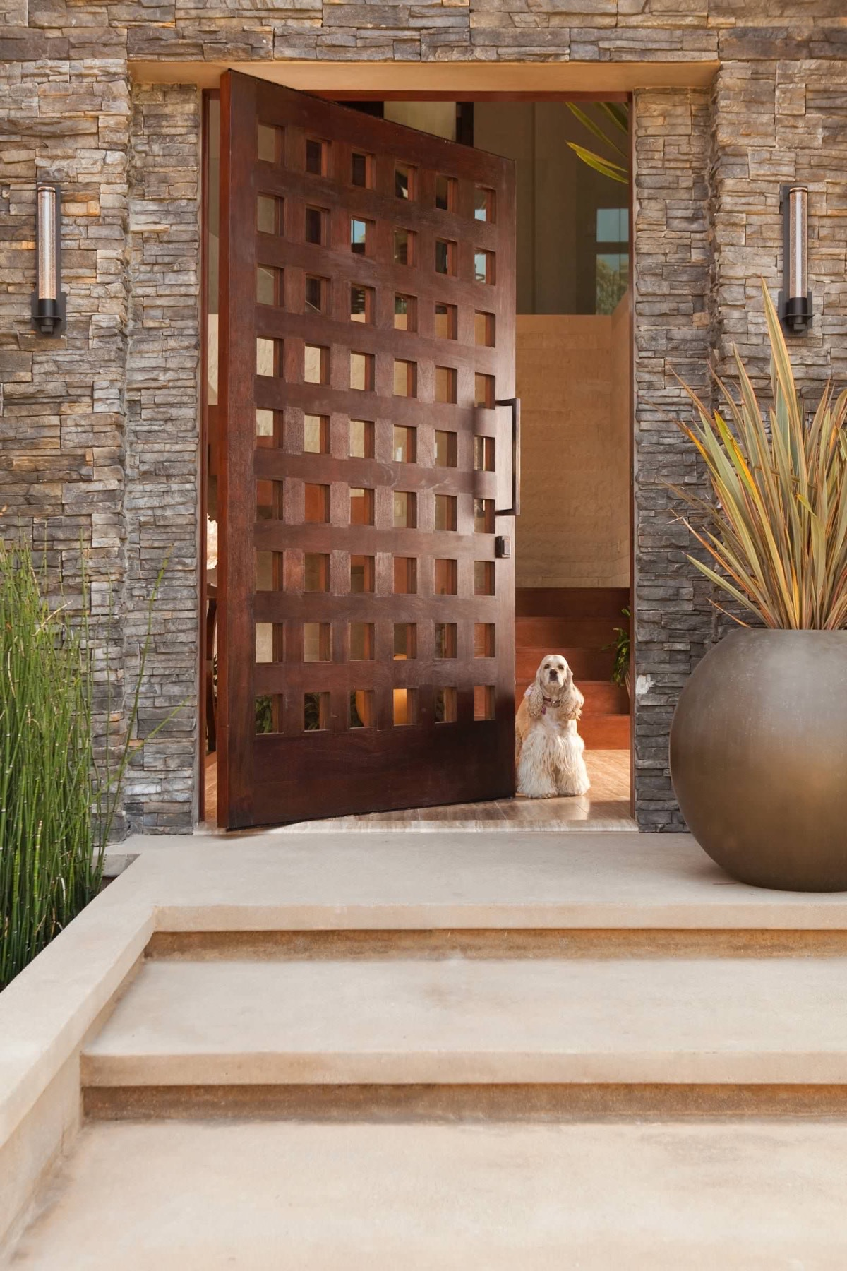 50 modern front door designs for Big entrance door