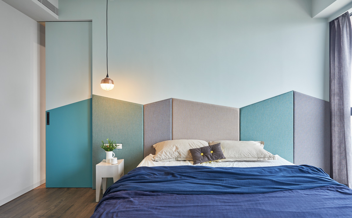 Unique Headboard Substitute Ideas - Colorful modern apartment for a family with small children