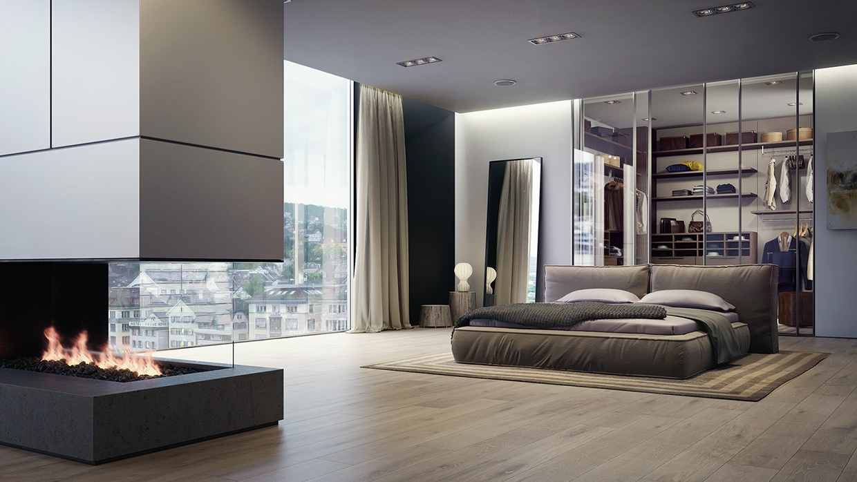 20 beautiful examples of bedrooms with attached wardrobes. Black Bedroom Furniture Sets. Home Design Ideas