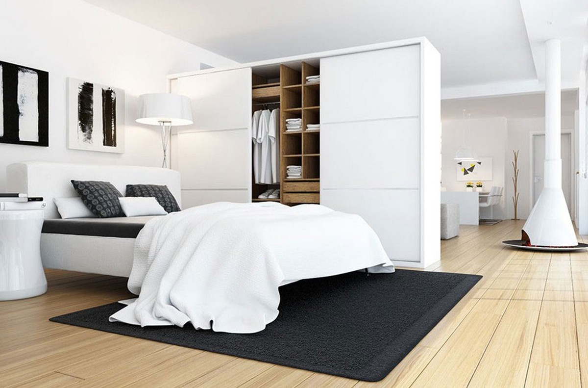 20 beautiful examples of bedrooms with attached wardrobes - Gorgeous bedroom decoration with various sliding bed table ideas ...