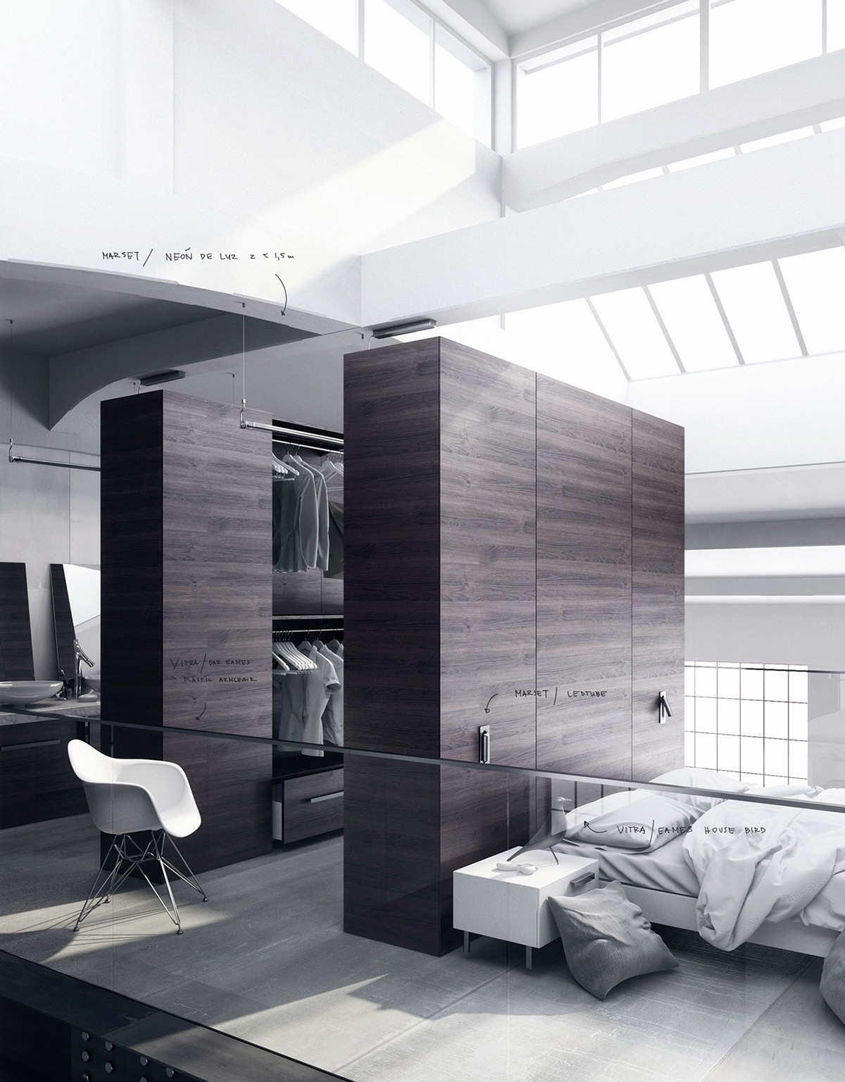 Wardrobe Dividing Wall - 20 beautiful examples of bedrooms with attached wardrobes
