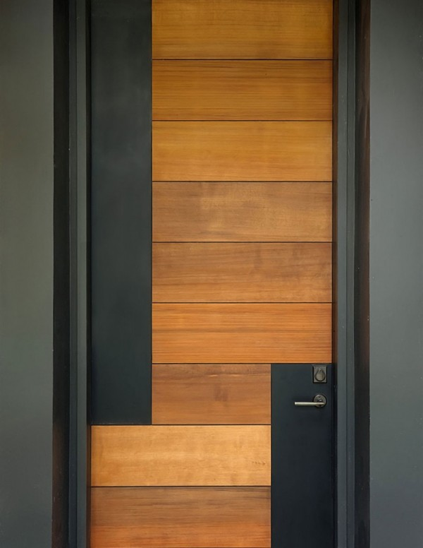 50 modern front door designs for Black wooden front door