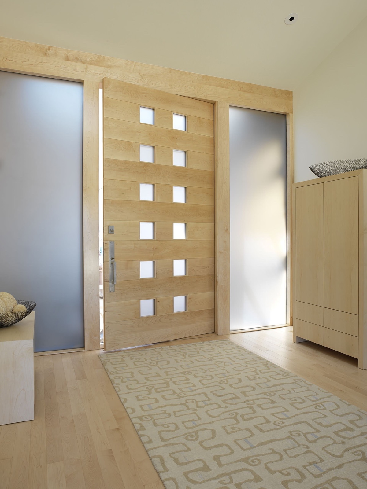 50 modern front door designs for Wood door with glass
