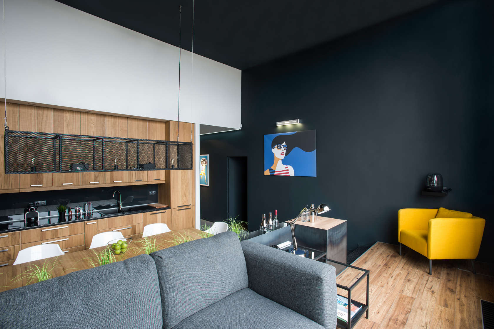 Accent Wall Black Accent Wall - Modern loft with surprising elements