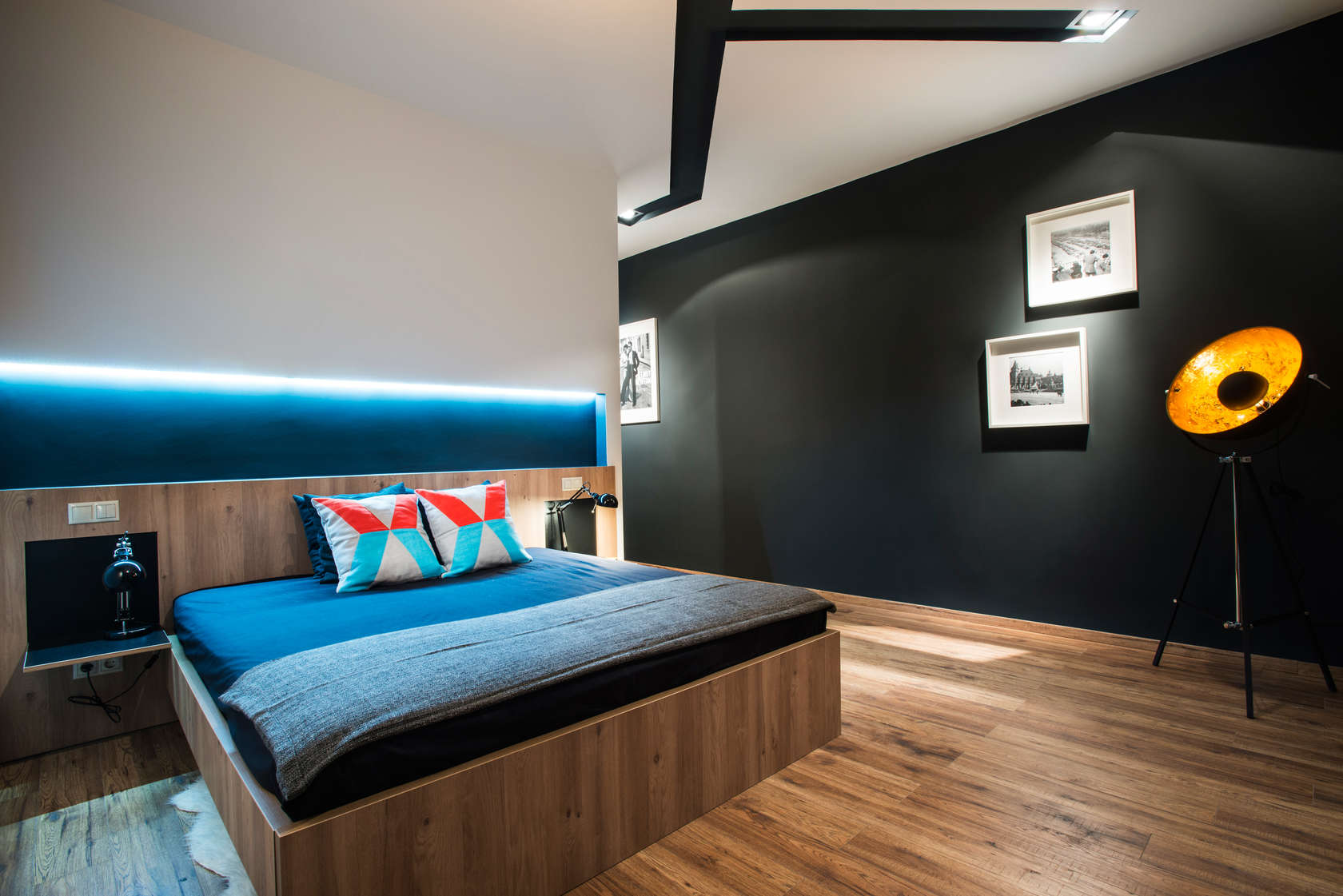 Bedroom Accent Walls - Modern loft with surprising elements