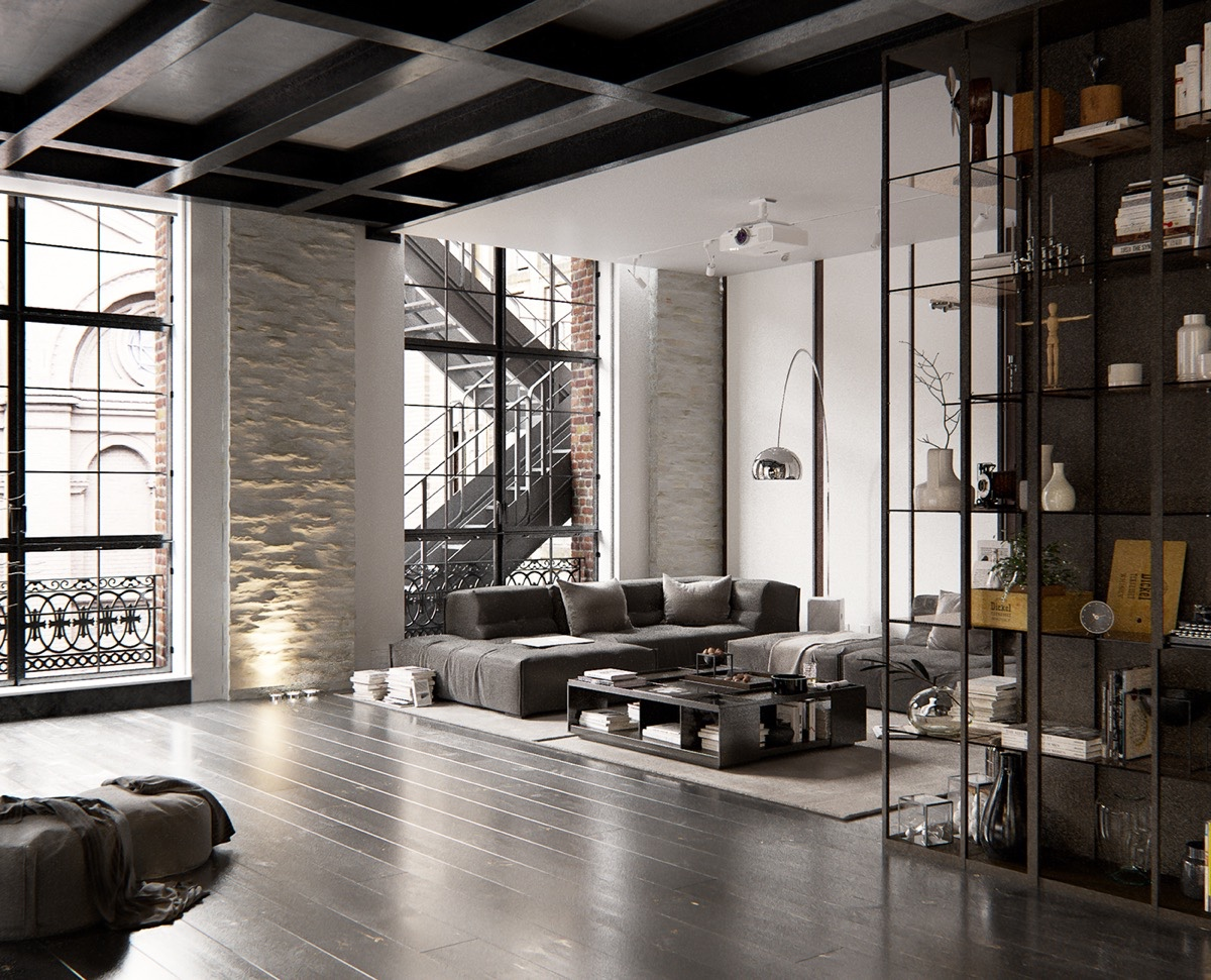 2 chic and cozy cosmopolitan lofts for Industrial interior designs