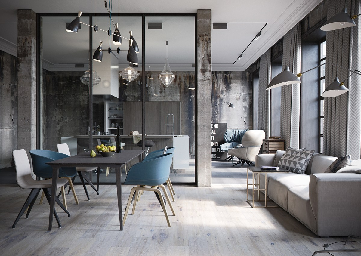 2 chic and cozy cosmopolitan lofts for Kantoor interieur