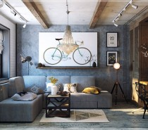This funky, eclectic space looks like it's right out of a hipster haven in Brooklyn. Bike artwork throughout the space, exposed white-washed brick, and wood beams all add to the modern eclectic space.