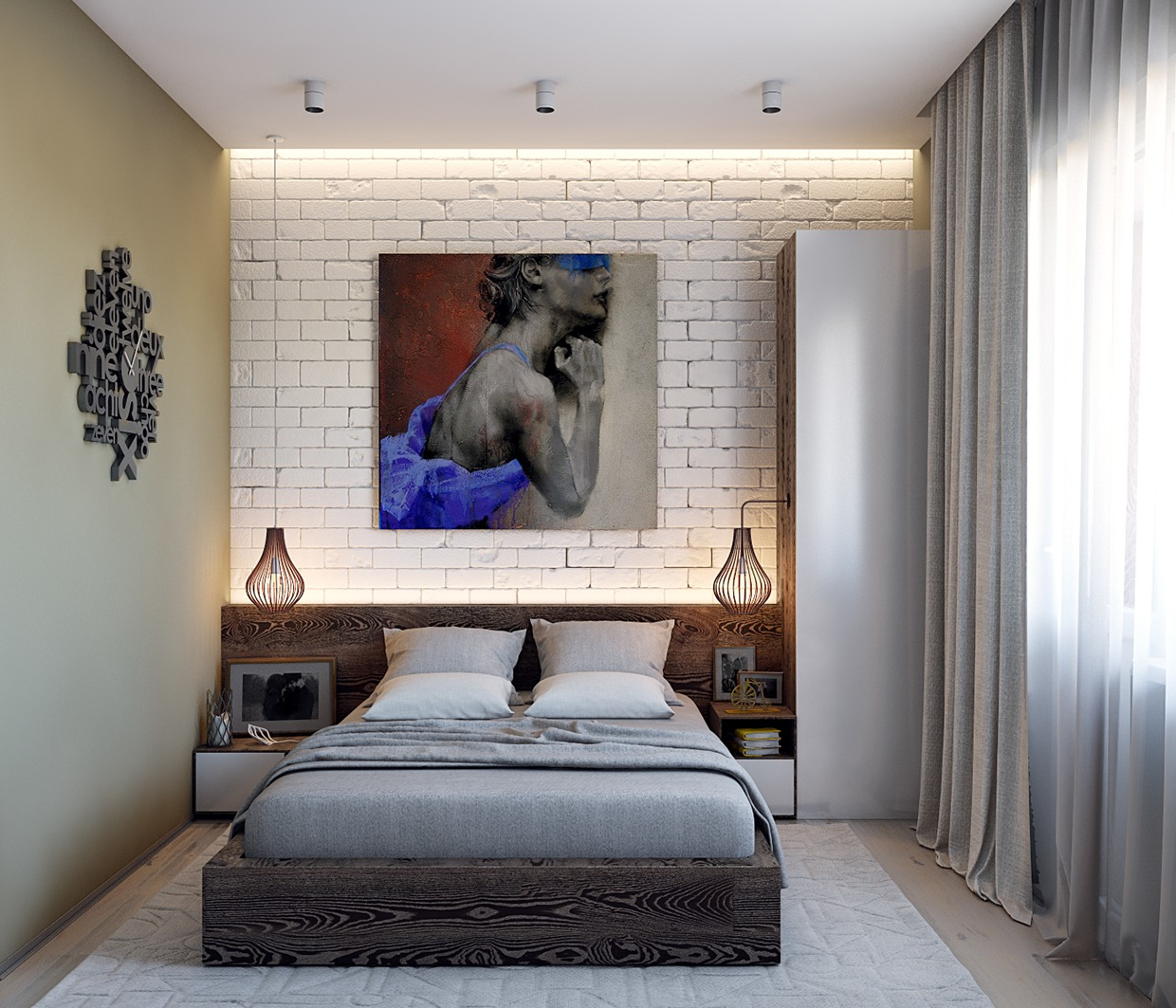 3 chic modern eclectic spaces for Brick accent wall bedroom