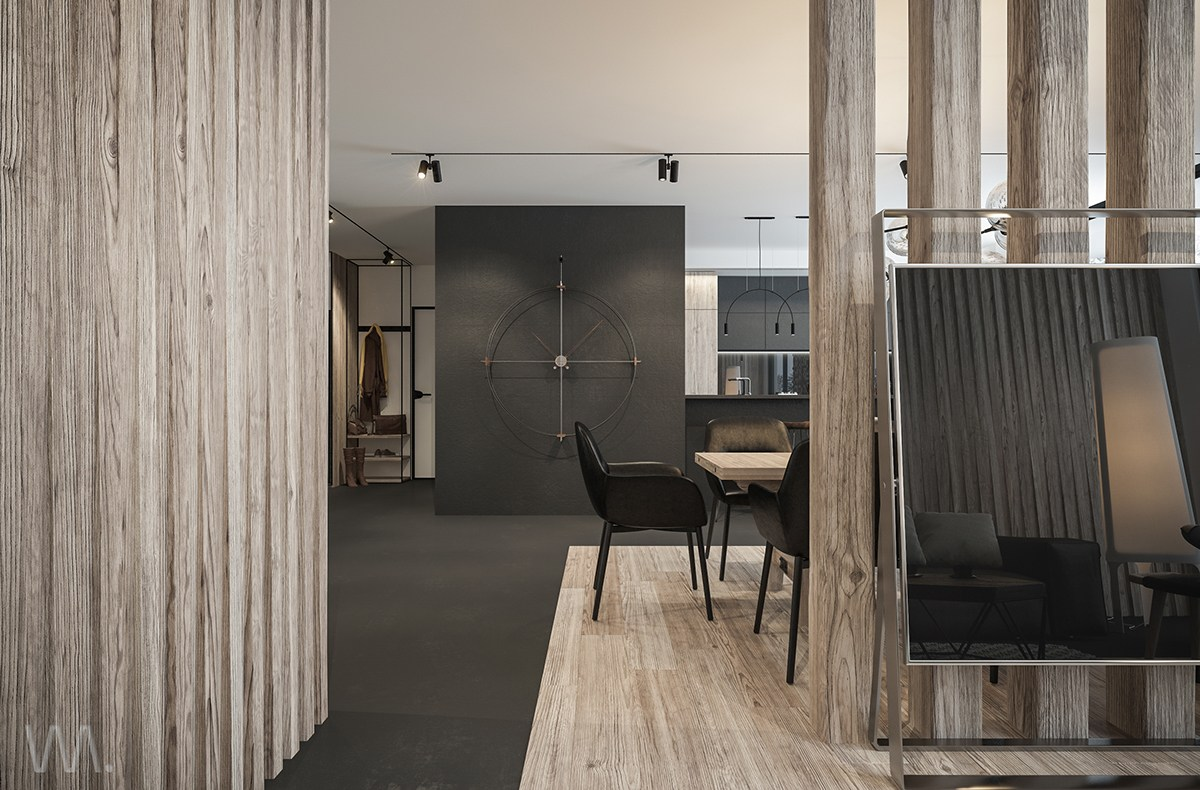 Black And Wood Interior - Homes with inspiring wall treatments and designer lighting