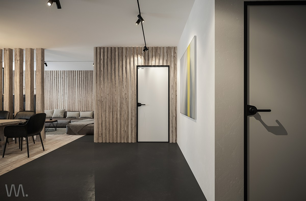 Black Floors Wood Walls - Homes with inspiring wall treatments and designer lighting