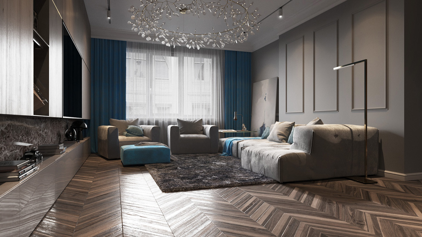 Blue And Wood Living Room Theme - Homes with inspiring wall treatments and designer lighting