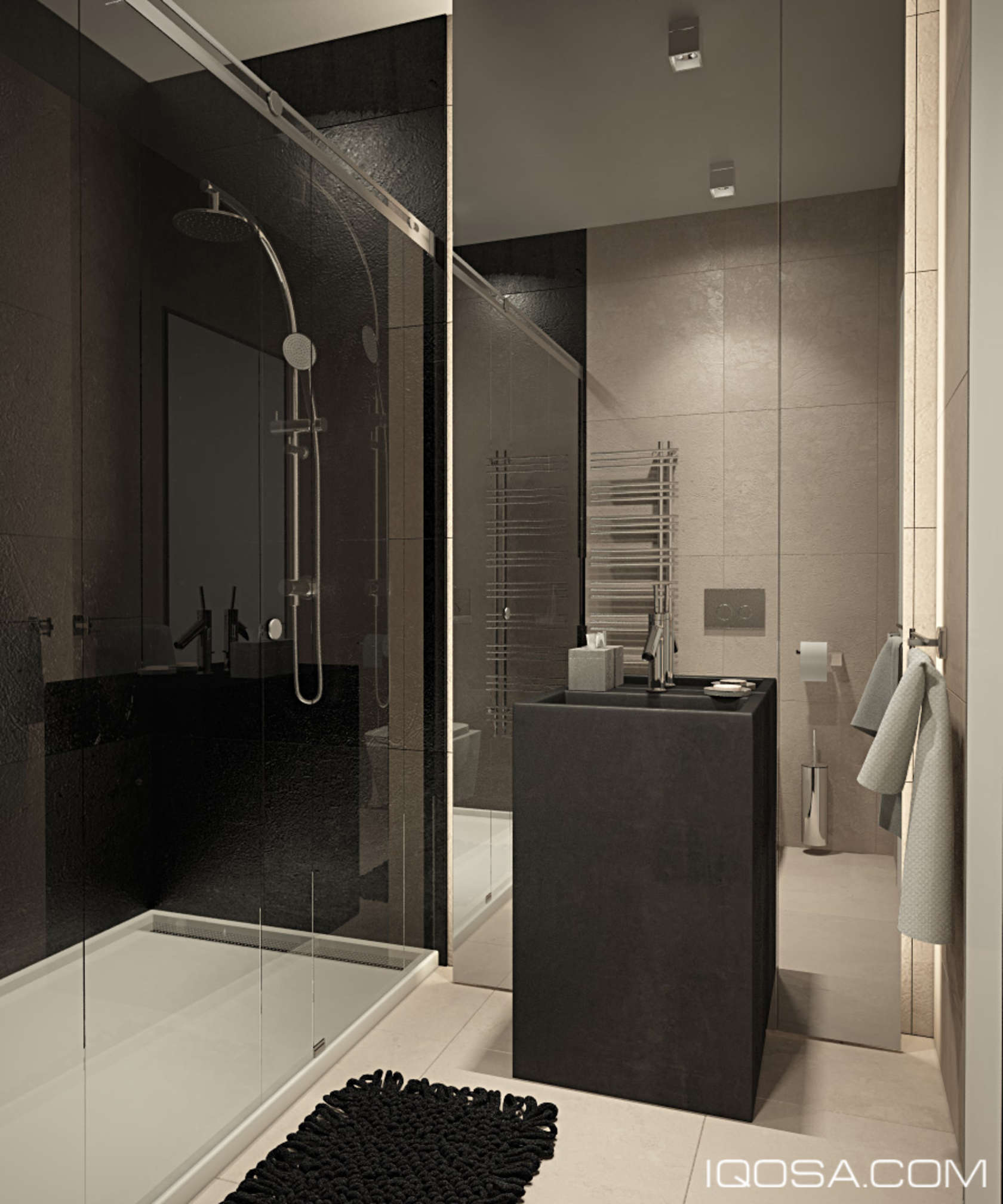 Clever Mirrored Bathroom Wall - An approachable take on luxury apartment design