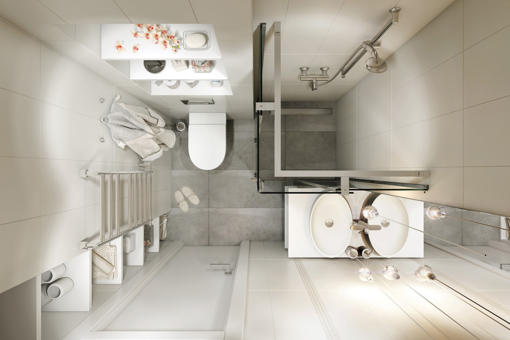 Compact Bathroom Layout - 4 small apartments showcase the flexibility of compact design