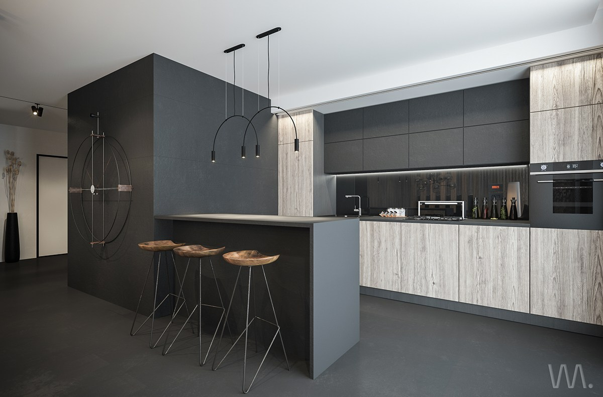 Dark Minimalist Kitchen - Homes with inspiring wall treatments and designer lighting