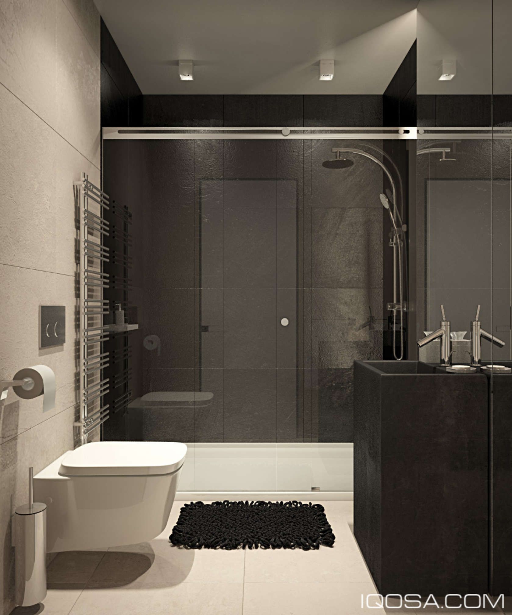 Dark Walls In A Small Bathroom - An approachable take on luxury apartment design
