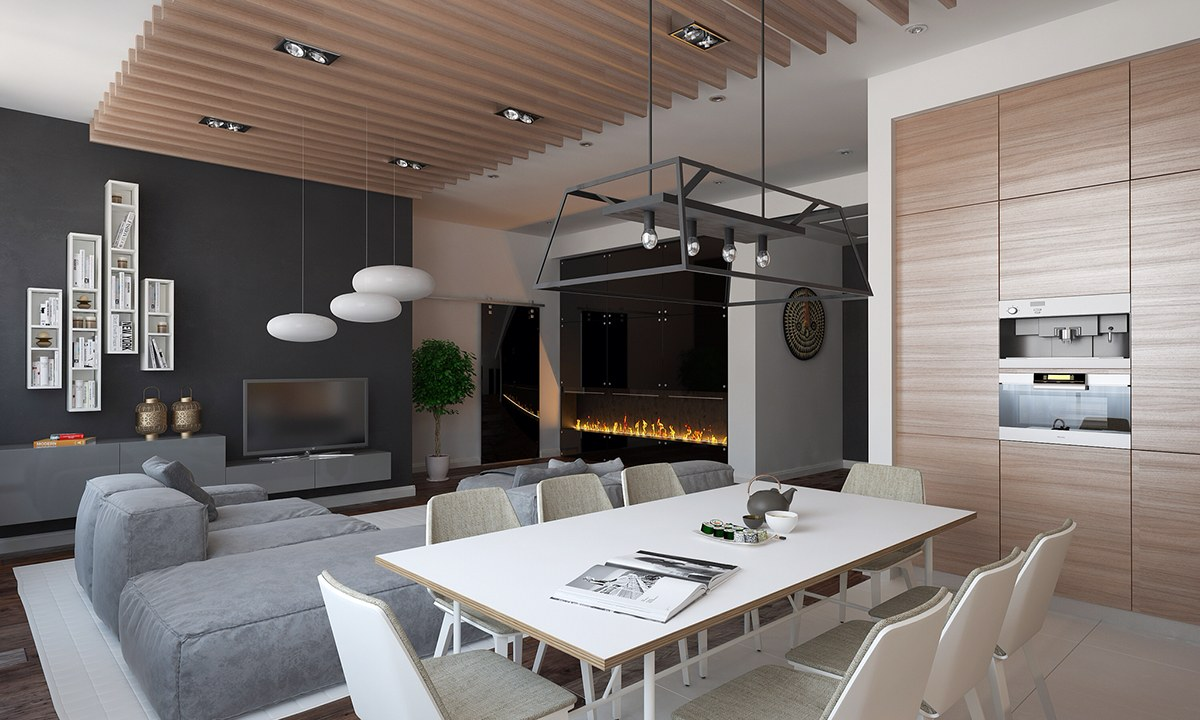 Designer Wood Ceiling Slats - Homes with inspiring wall treatments and designer lighting