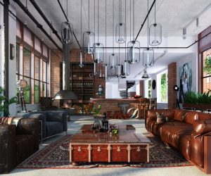 This eclectic loft was designed for a man who appreciates art, loves to travel, and adores his cat. There's plenty of plush oversized seating for his feline friend which fits perfectly into this giant space.
