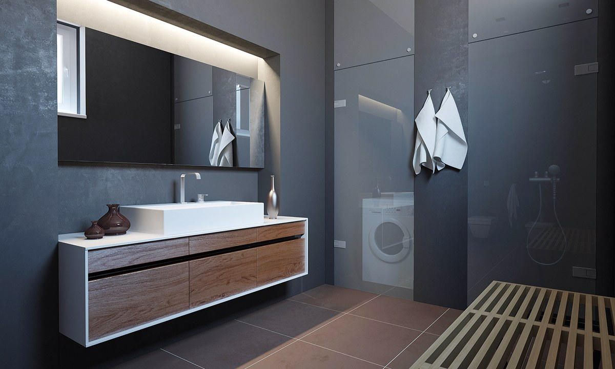Glossy Black Bathroom Decor - Homes with inspiring wall treatments and designer lighting
