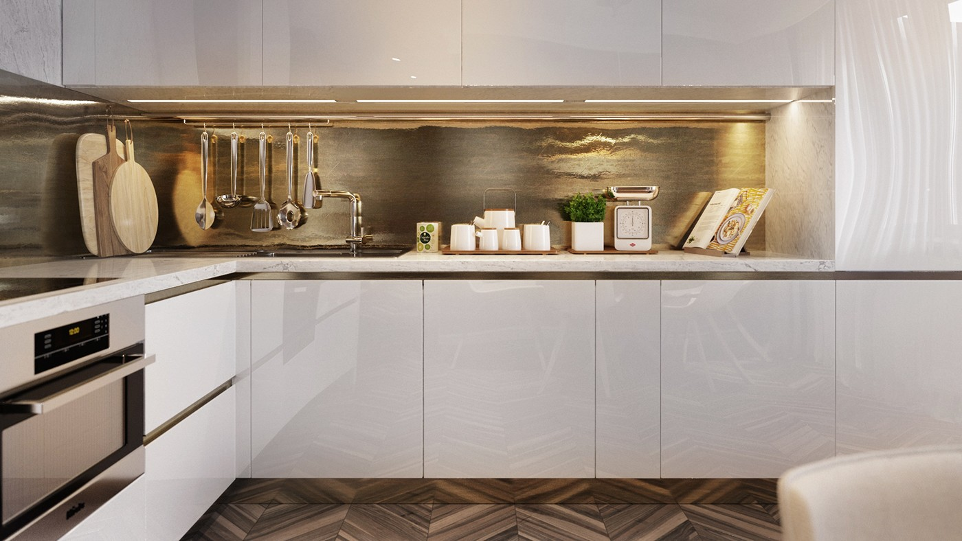 Hammered Gold Kitchen Backsplash - Homes with inspiring wall treatments and designer lighting