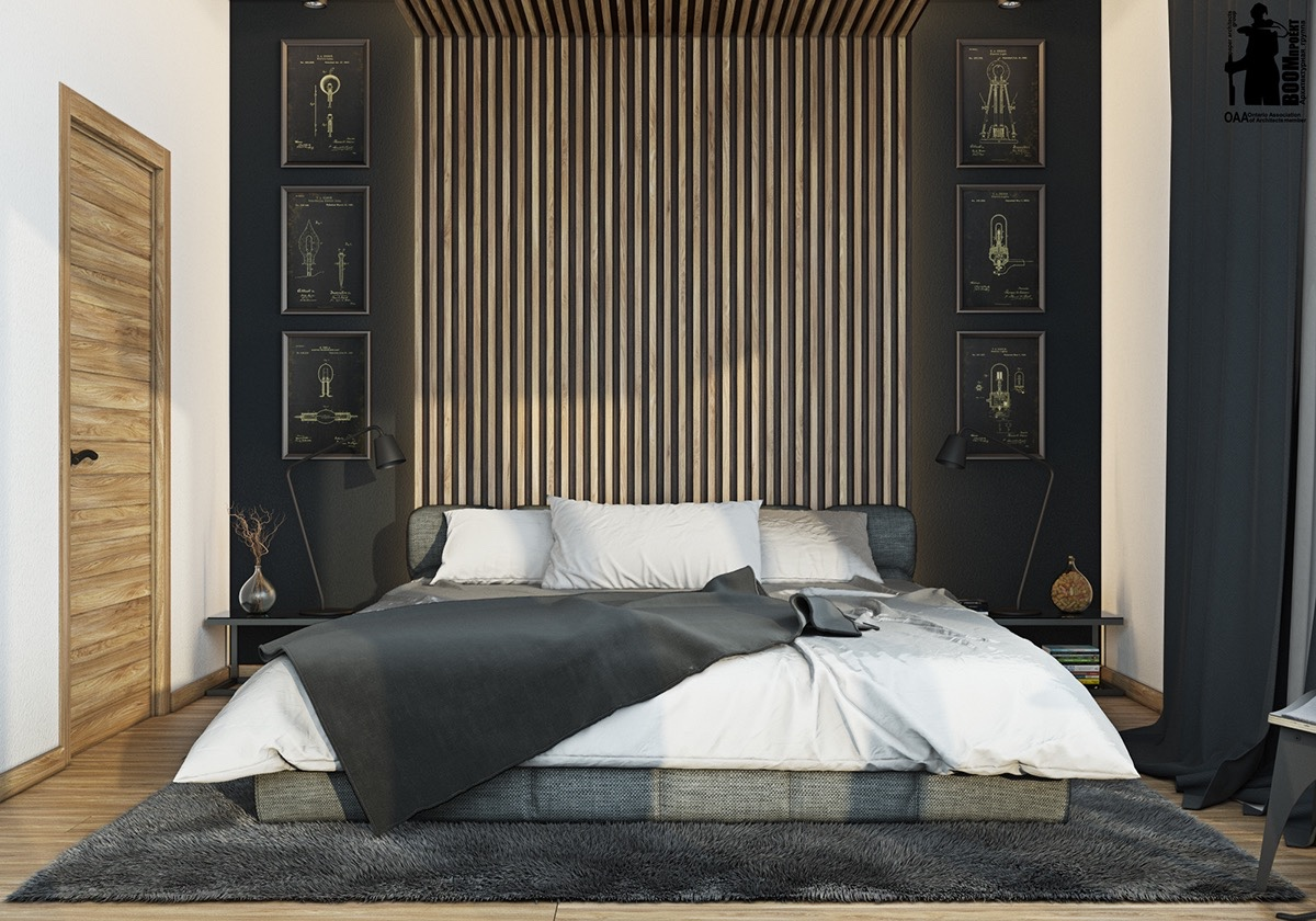 Sophisticated small bedroom designs for Masculine headboards